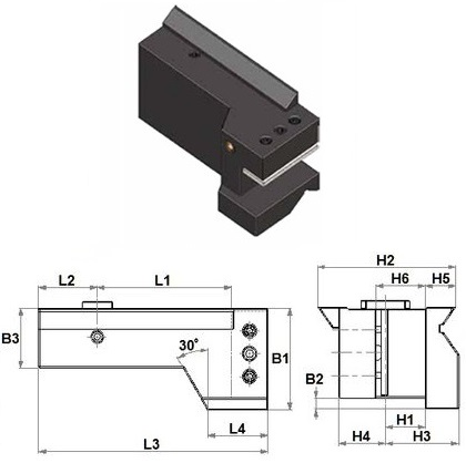 DOVETAIL 115 mm FORM A2 TURNING HOLDER H=(1-1/4)""