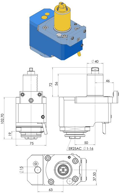 VDI40 AXIAL DRILLING MILLING HEAD ER25 OFFSET 50 mm FOR TAKAMAZ XY2000