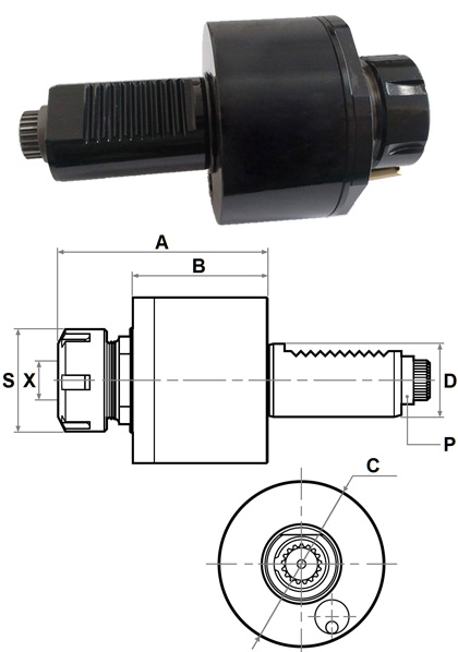 VDI Axial Tapping Head DA30-5480-ER16-TAP